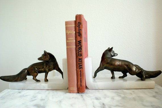 Vintage Bronze Fox Bookends on White Onyx Base