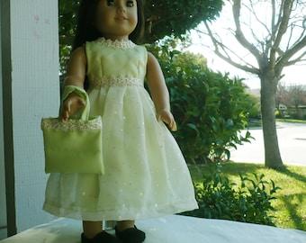 American girl doll,light green,Christmas, Handmade dress, Holiday, Doll outfit, children,