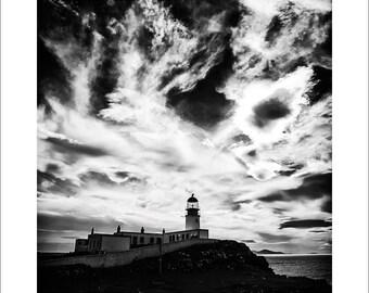 "Black and White Landscape Fine Art Photography, 8x8""print size, 12x16"" mount size, Illford Lightjet Print - Neist Point - Skye 2012"