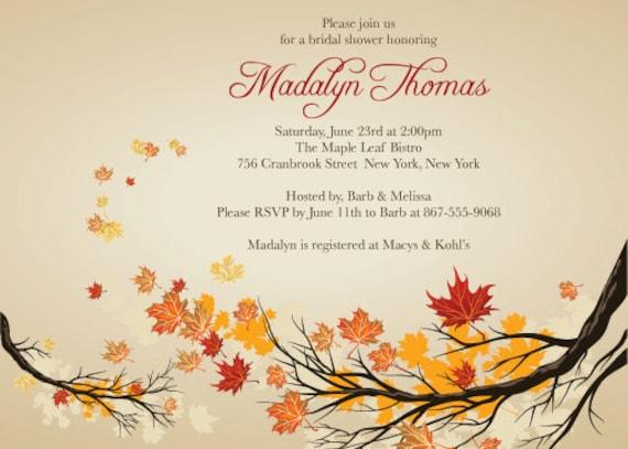 Fall Wedding Shower Invitations: Items Similar To BRIDAL SHOWER Brown & Orange FALL Themed