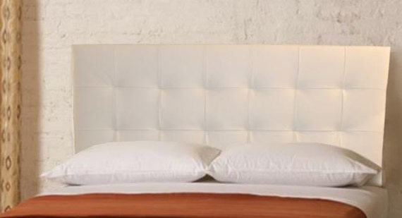 wall mounted king size headboard upholstered in white genuine. Black Bedroom Furniture Sets. Home Design Ideas
