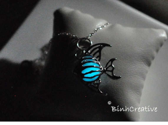Items similar to glow in the dark angel fish pendant 18k for Glow in dark fish