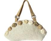 Knitted bag Cotton beige handbag Bag medium Summer zipper bag Flowers chiffon organza  Handmade  bag