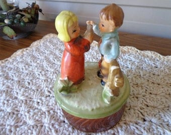 Little Boy and Girl with Bird Music Box