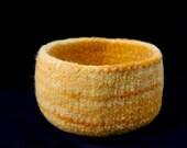 Felted Bowl Wool Yellow, Handmade Knit