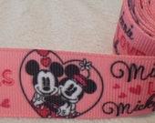 """Classic Mickey Minnie Love Ribbon 7/8"""""""