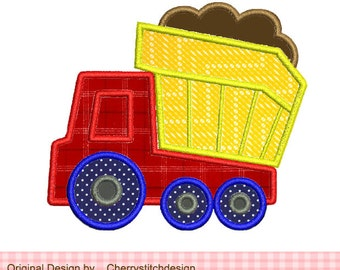 Dump Truck Machine Embroidery Applique Design - 4x4 5x5""