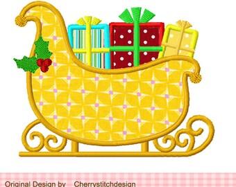 Christmas Sleigh Applique -4x4 5x7 -Machine Embroidery Applique Design