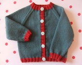 Hand knitted baby cardigan in dark teal and ruby red wool  Available to order from 03 months up to 912 months