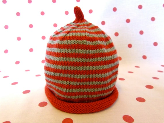 SALE - 30% off - Hand knitted stripy teal and red baby beanie hat  - 3-6 months - Ready to ship!