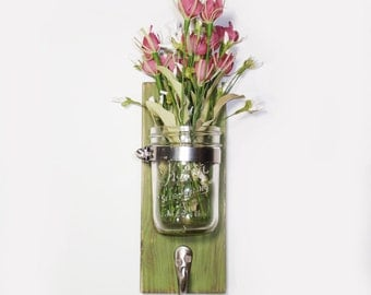 Cottage Chic Wall Flower Vase 1 Hook- Key Holder- Basil - Country- French Chic- Shabby- Country Decor- Choose From Many Colors