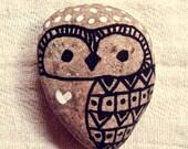 Hand Painted Rock Pet - Aztec Owl