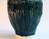 "8"" flared embossed blue/black vase"