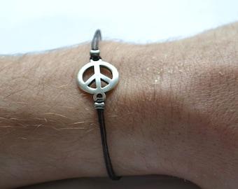 Men's peace bracelet, Black cord bracelet for men, silver peace charm, bracelet for men, gift for him, hippie bracelet, yoga bracelet