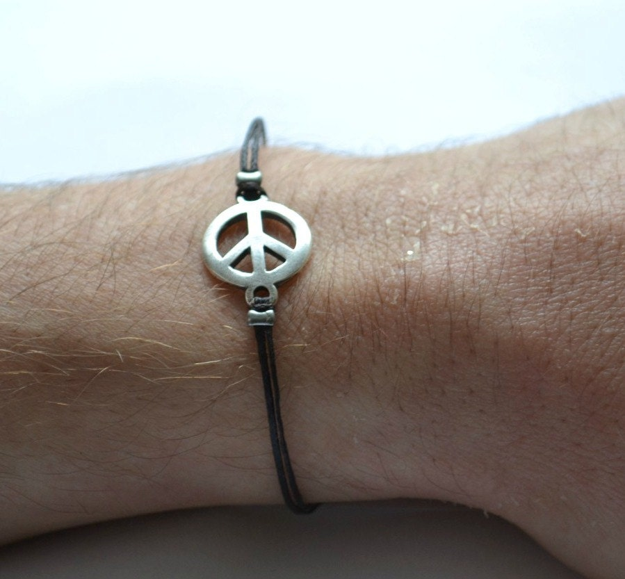 men 39 s peace bracelet black cord bracelet for men silver. Black Bedroom Furniture Sets. Home Design Ideas