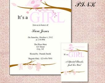 Lil Birdie Pink Baby Shower Invitation