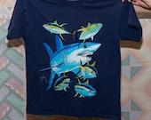 Vintage 90s Guy Harvey Sharks Fish Navy Blue Tshirt - Child Small