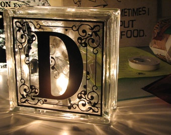 Personalized Monogramed Lighted Glass Block