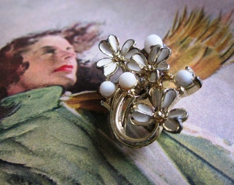 Vintage Brooch with White Painted Flowers