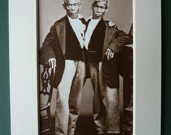 Modern Siamese Twins Print - Conjoined Eng & Chang Bunker People Thai China Thailand Chinese Mounted