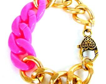 Chunky Silver Bracelet, Neon Pink Bracelet, Pink bracelet, Pink and Gold Bracelet, Chunky Gold Bracelet, Chunky Jewelry