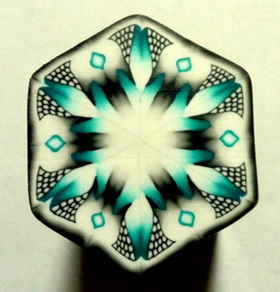 Black, White, and Green Hexagon Polymer Clay Cane