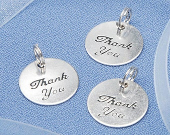 "Silver Metal ""Thank You"" Charms, 20pc Pkg (SKU VL8199069F)"