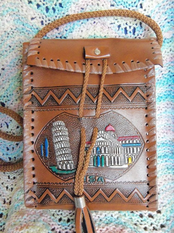 1960s Pisa Italy Hand Made Souvenir  Hippie Bohemian Ethnic Tribal Italian  Native shoulder Sling bag