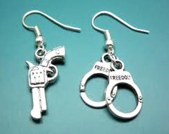 Gun and Handcuffs Earrings - 25 Percent Off Coupon Code: SHOPATLUXE4FAVORITES