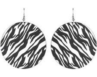 Zebra Print Disc Earrings