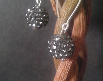 Swarovski disco ball earings -Hemetite