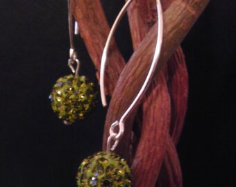Swarovski disco ball earings -Olivine