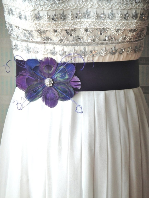 Purple peacock feather bridal sash in wedding by modishbride for Peacock wedding dress sash