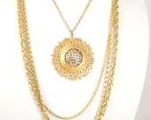 1970's Vintage Quadurple Chain Gold Medallion Necklace