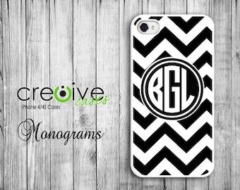 MONOGRAM iphone 6, iPhone 4/4s or iPhone 5/5s case - Black and White Chevron pattern w/Black Monogram