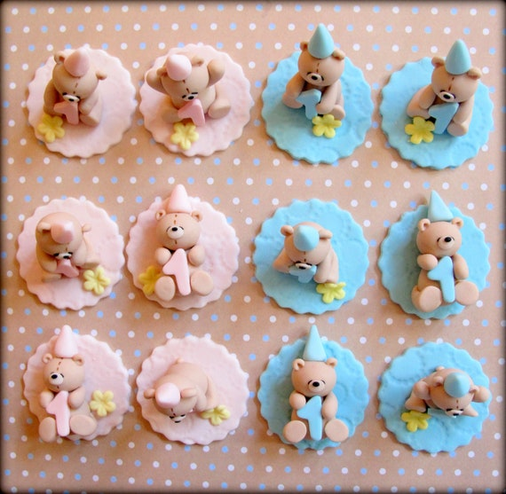 baby shower cupcake topper handmade teddy bear birthday baby shower
