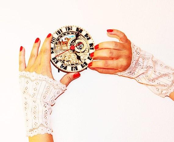Floral lace bridal gloves-wedding fingerless cuffs elastic gloves- Bridal Wrist Cuffs,Gothic Gloves,beige Lace Gloves , Bride,Bridal Lace
