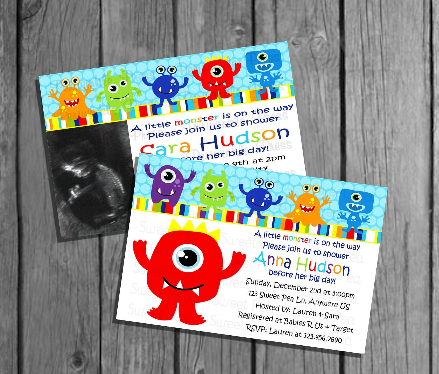 Baby Shower Themes Little Monsters ~ Little monster baby shower invitation no pic big