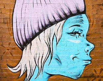 8 x 12 Blue Girl Facing Right