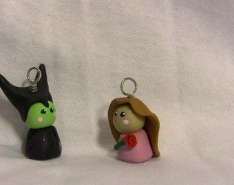Unique Handmade Disney Chibi Character Ornament: Disney's Sleeping Beauty, Maleficent and Aurora