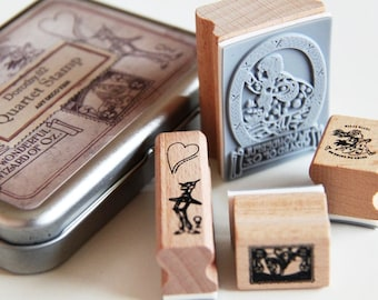Dorothy Wizard of Oz Wooden Rubber Stamps Set 2- Scrapbooking. Cardmaking. Tag Making. Fairy Tale. Vintage Style