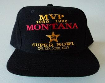 Vintage Joe Montana Super Bowl MVP LA Gear 49ers Snapback Hat NFL
