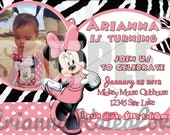 Minnie Mouse zebra print birthday Invitation W/Thank you cards