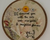 Sacrificial Flowers Hand Embroidered Poetry Wall Art