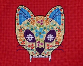 Cat Sugar Skull Cross Stitch Pattern
