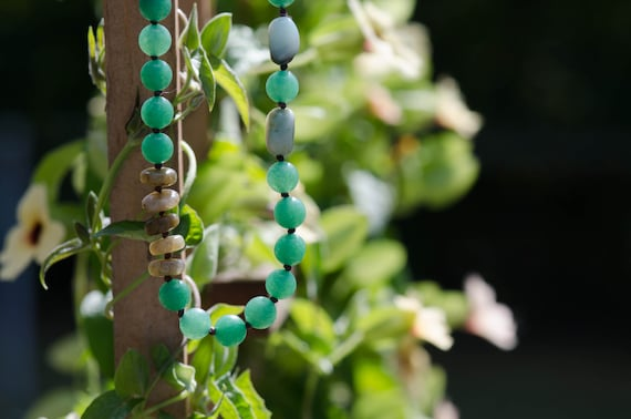 Hand knotted Green Aventurine, Labradorite, Amazonite and Green Agate necklace