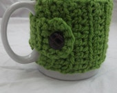 Crocheted Mug Cosy in Green Hand-Dyed British Wool