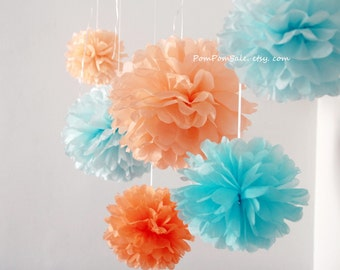 SALE - Peach & Blue - 7 Tissue Paper Pom Poms - for Wedding / Baby Shower / Baptism / Birthday Party Decor Flowers - Fast Shipping