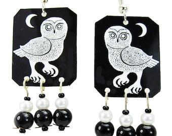 Night Owl & Moon Black and White Beaded Earrings