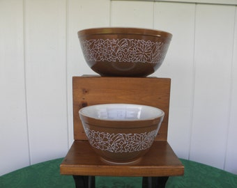 SALE Pair of Woodland Mixing Bowls